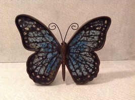 Blue mosaic crackle glass colored standing sparkly butterfly will reflect lights