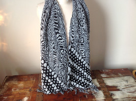 Boho Style Black and White Scarf with Dots
