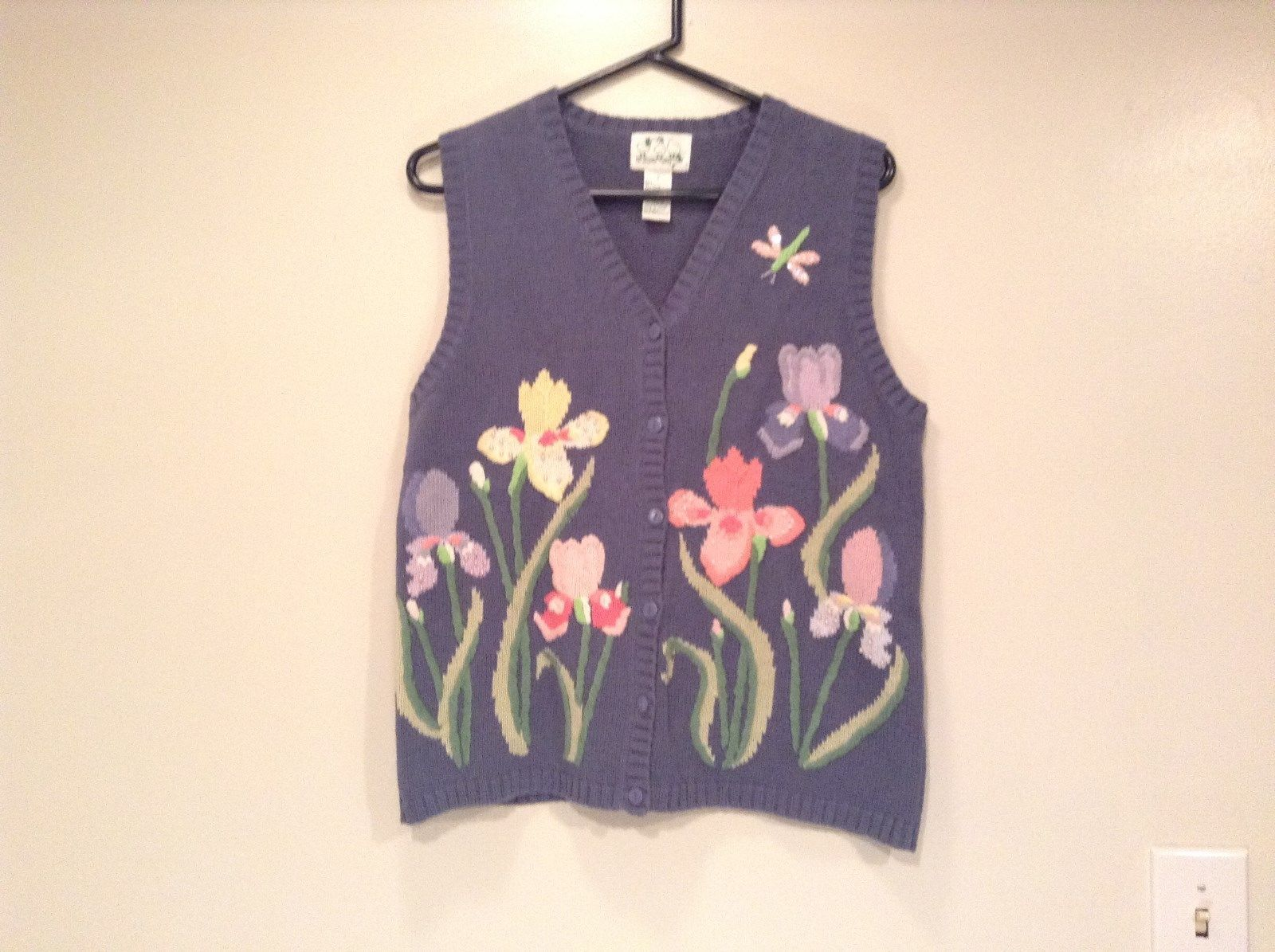Blue with Pink Yellow Violet Flowers Embroidery Knitted Vest The Quacker Factory