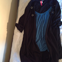 Black Cardigan Short Sleeves Blue Tank Top All In One Very Fashionable Size XL image 11