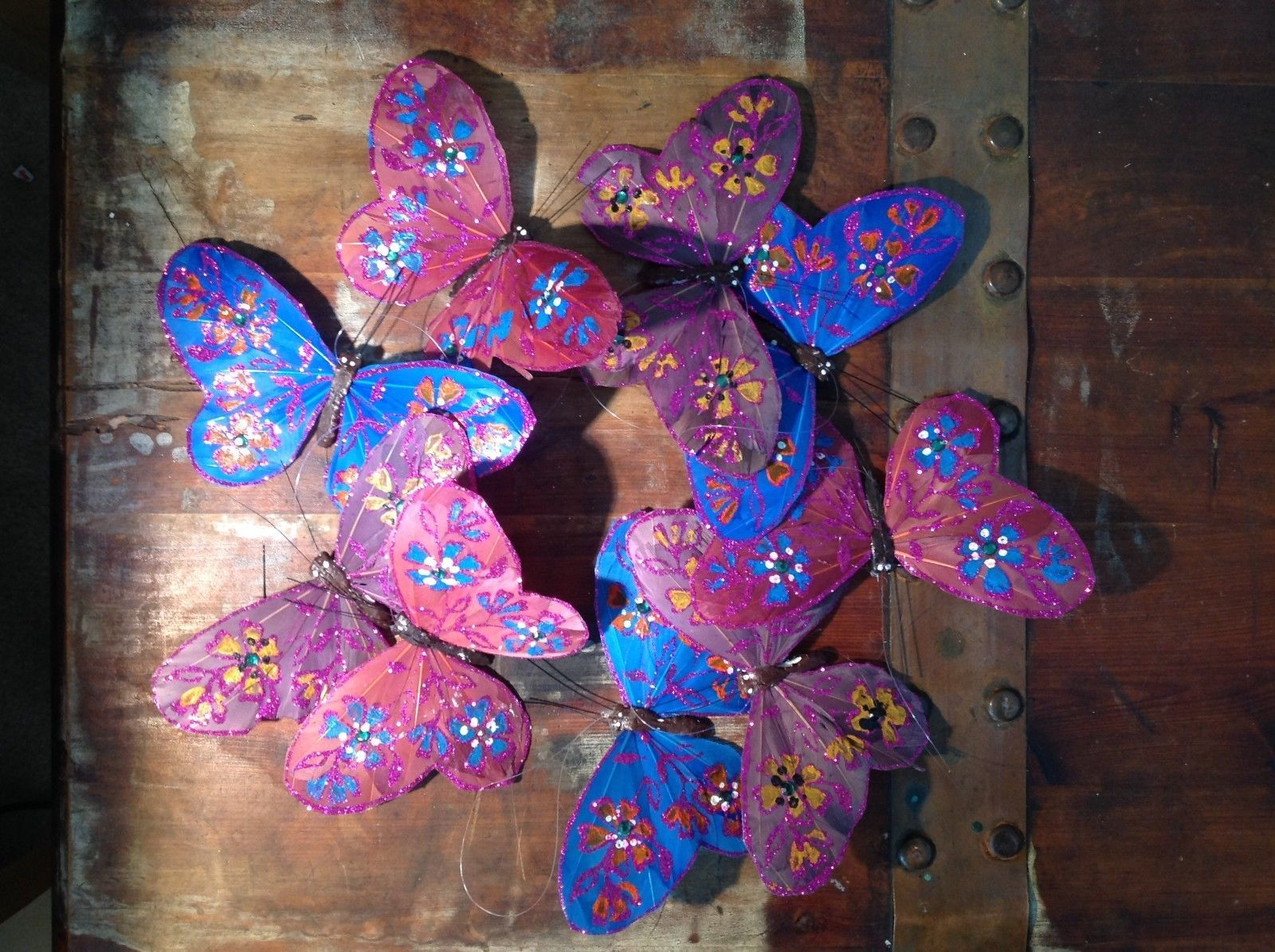 Blues Purples browns Glitter Feather Butterfly Garland Plastic Line