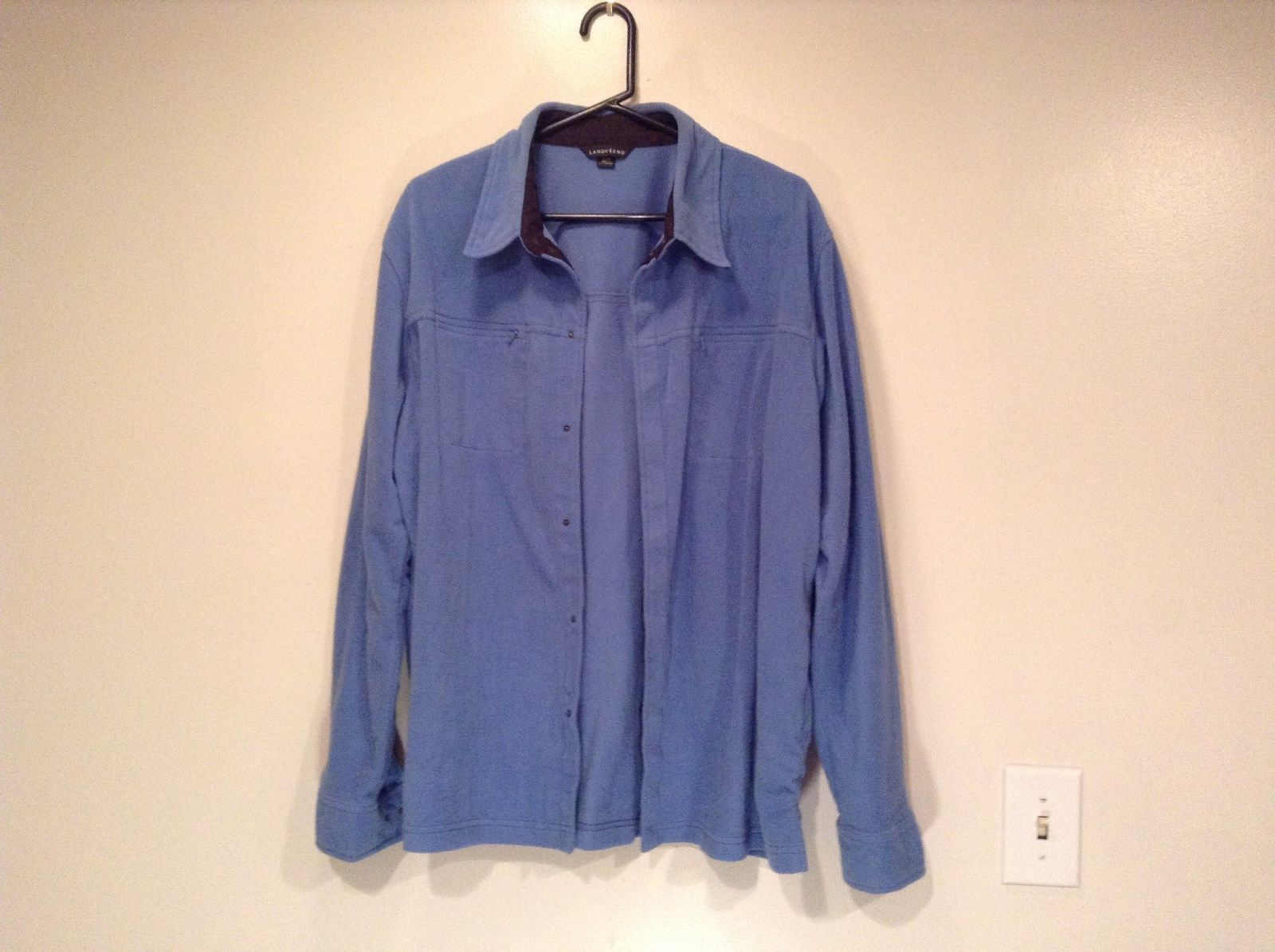 Blue with Black Trim Lands End Long Sleeve Fleece Shirt Size XL 46 to 48
