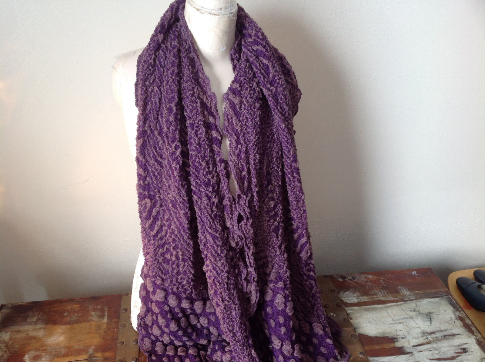 Boho Style Purple and Pink Scarf with Dots