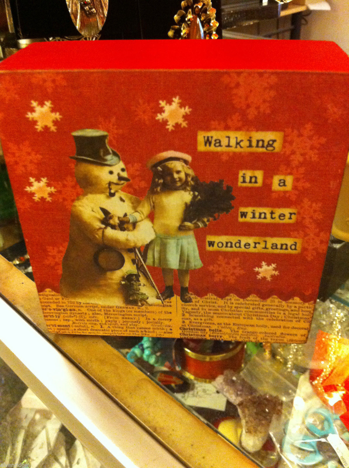 Box Sign Wall or Desk Mantel Display Walking in a Winter Wonderland