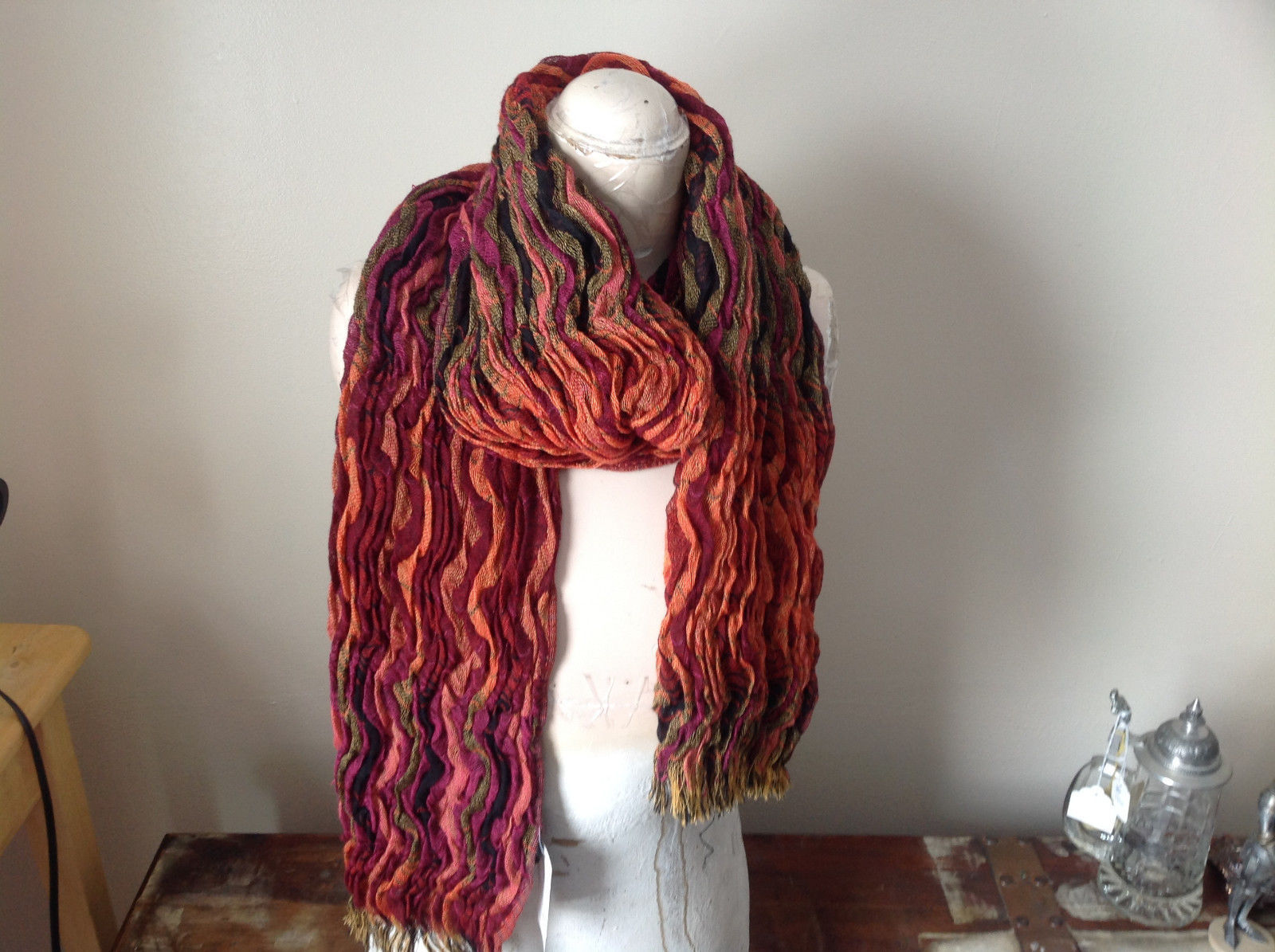 Bohemian Style Scarf in Orange Red Black Shades Stretchy
