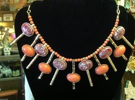 Brand new designer orange with red grey gold accents statement bib necklace image 1