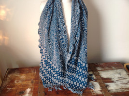 Boho Style Teal Color Scarf with Dots