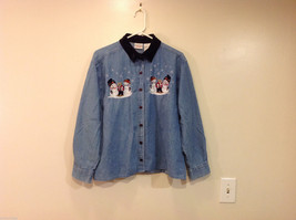 Bobbie Brooks Holiday Snowman Embroidery Blue Jeans Shirt Top Size 14W/16W