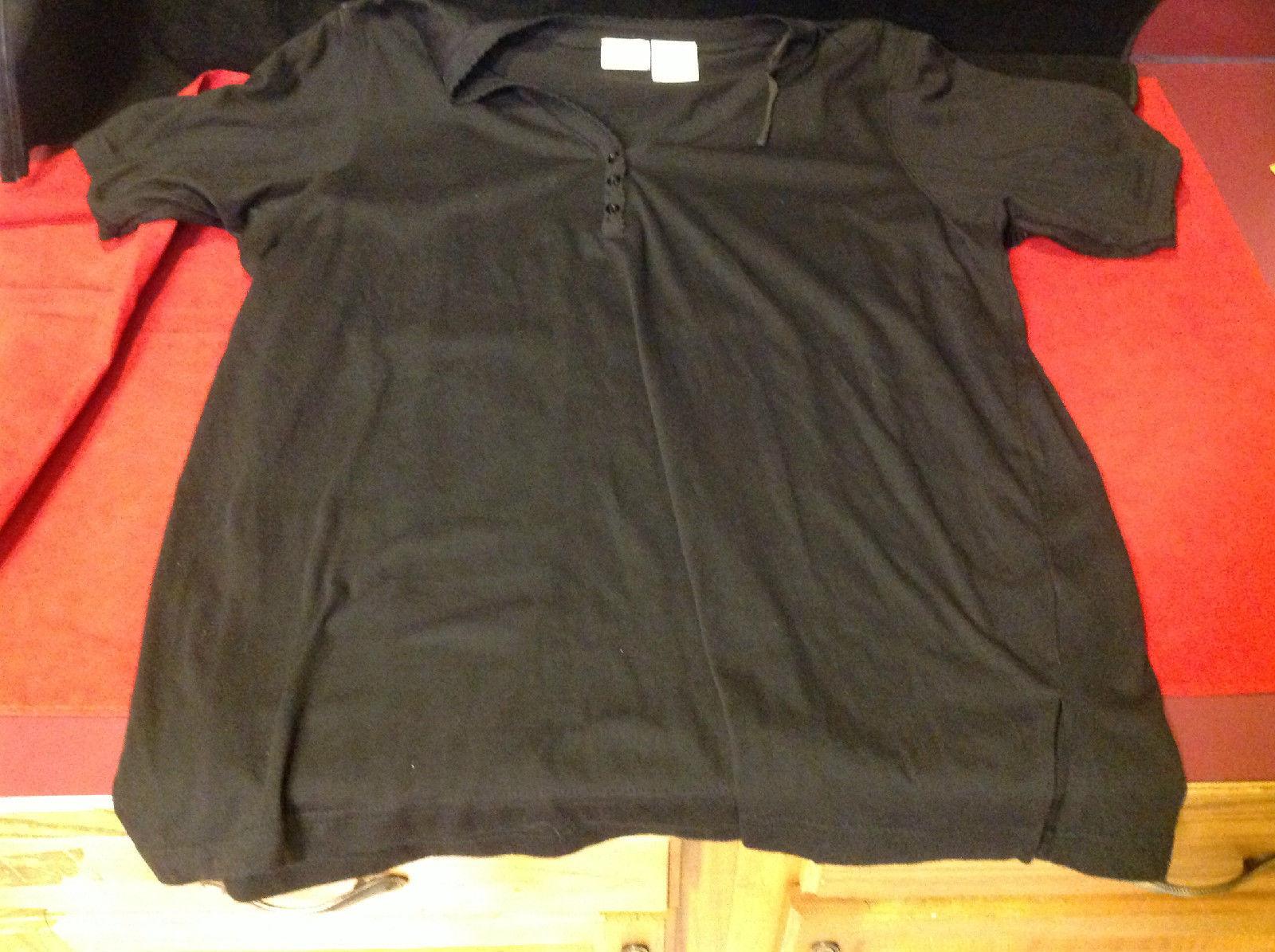 Bobbie Brooks Black Colored Ladies Short Sleeve Blouse Size 36 16 W