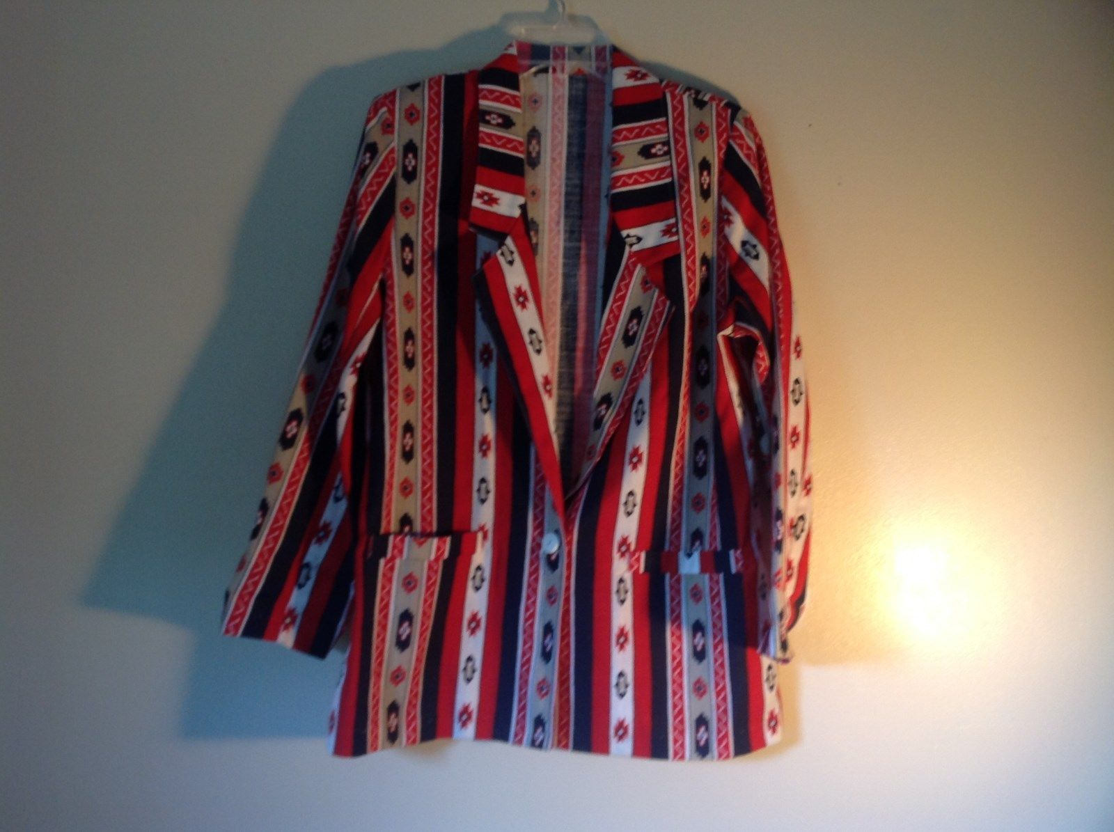 BonWorth Red White Blue Graphic Long Sleeve Blazer Size M One Button Closure