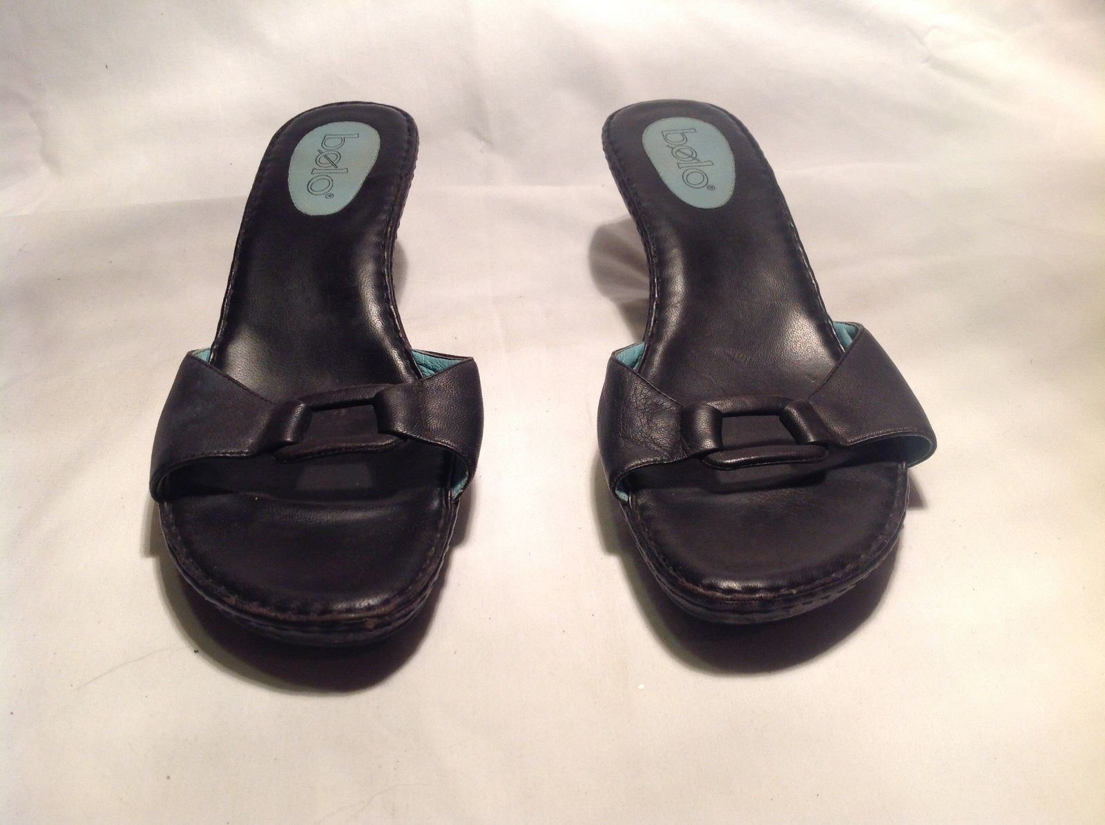 Bolo Black Heeled Shoes Open Back and Open Toe Buckle on Front Size 10