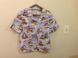 Bon Worth Mens light house pattern short sleeve casual shirt, NO size tag