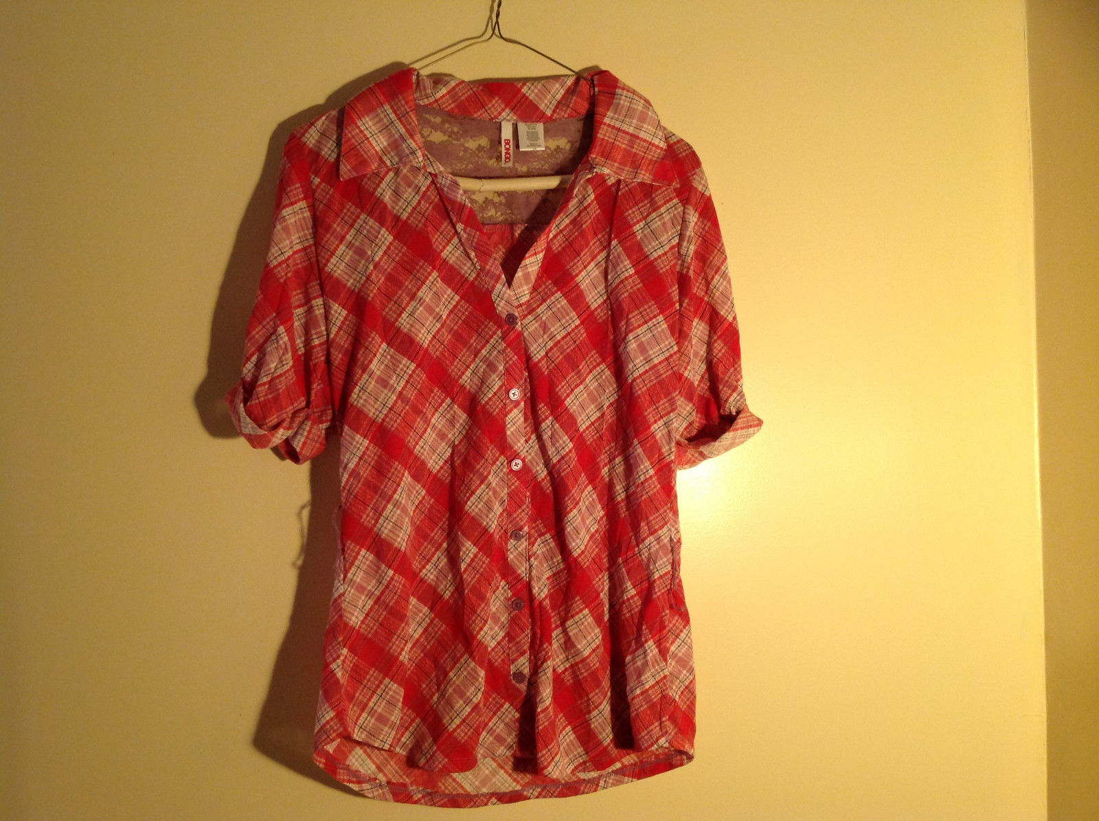 Bongo Red Plaid Button Purple Lace Upper Back Shirt V-Neckline Size Large