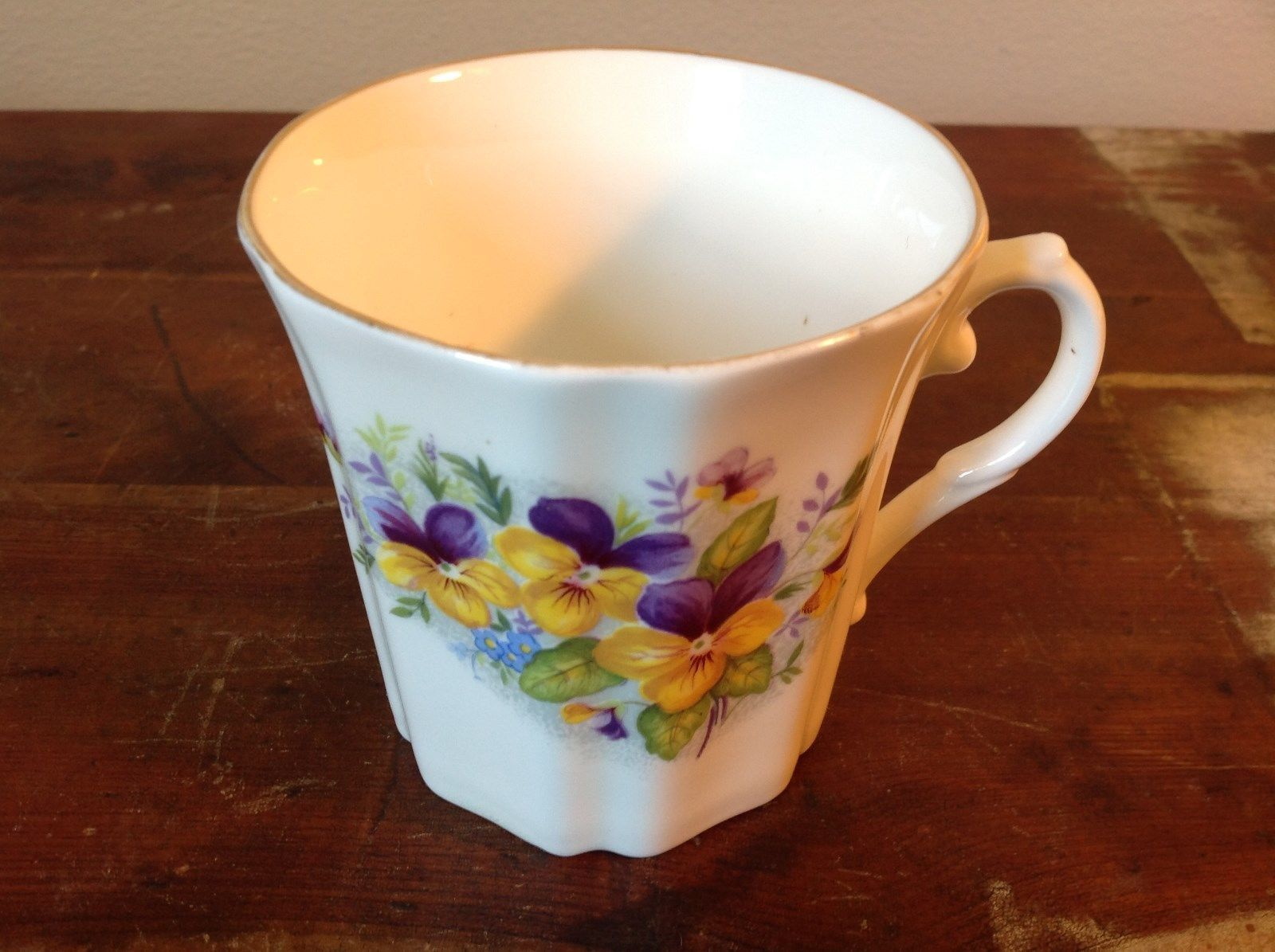 Bone China Vintage Tea  Cup England Royal Grafton violets johnny jump ups