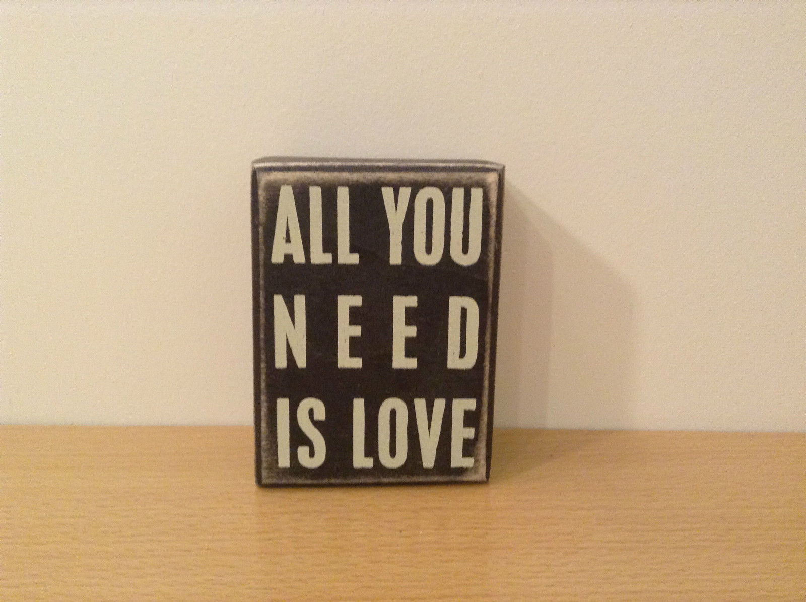 Box Sign All You Need is Love Wood Paint Black and White NEW