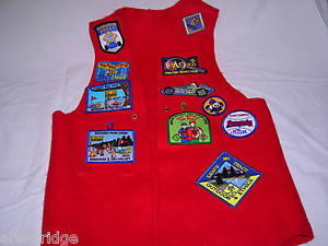 Boy Scout red vest with attached badges Webelos