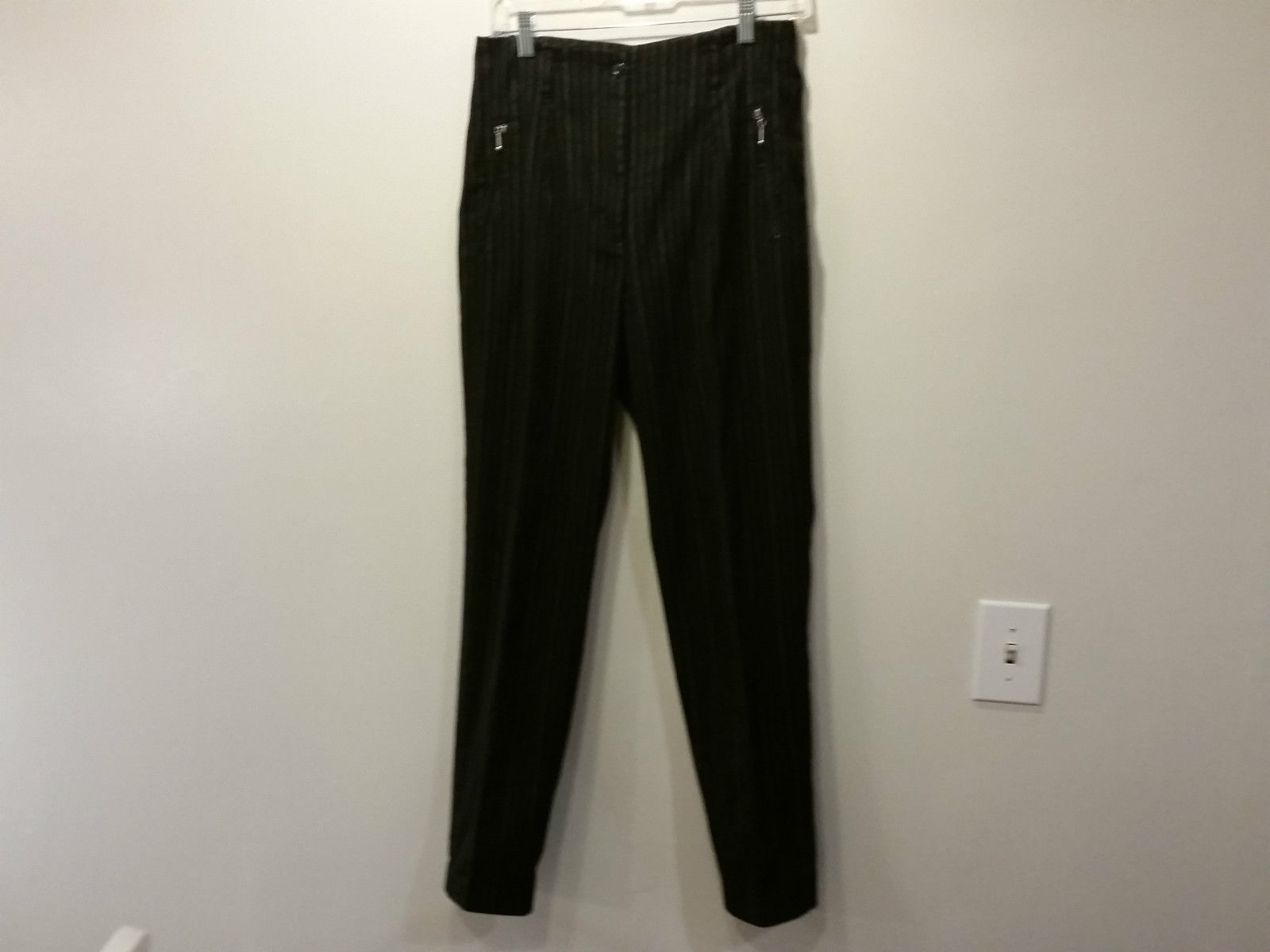 Boutique Europa by Newport News Size 10 Black Casual Pants with White Stripes