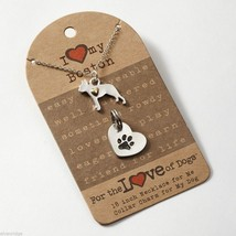 Boston Terrier  Necklace w gold heart w charm for your dog's collar SET