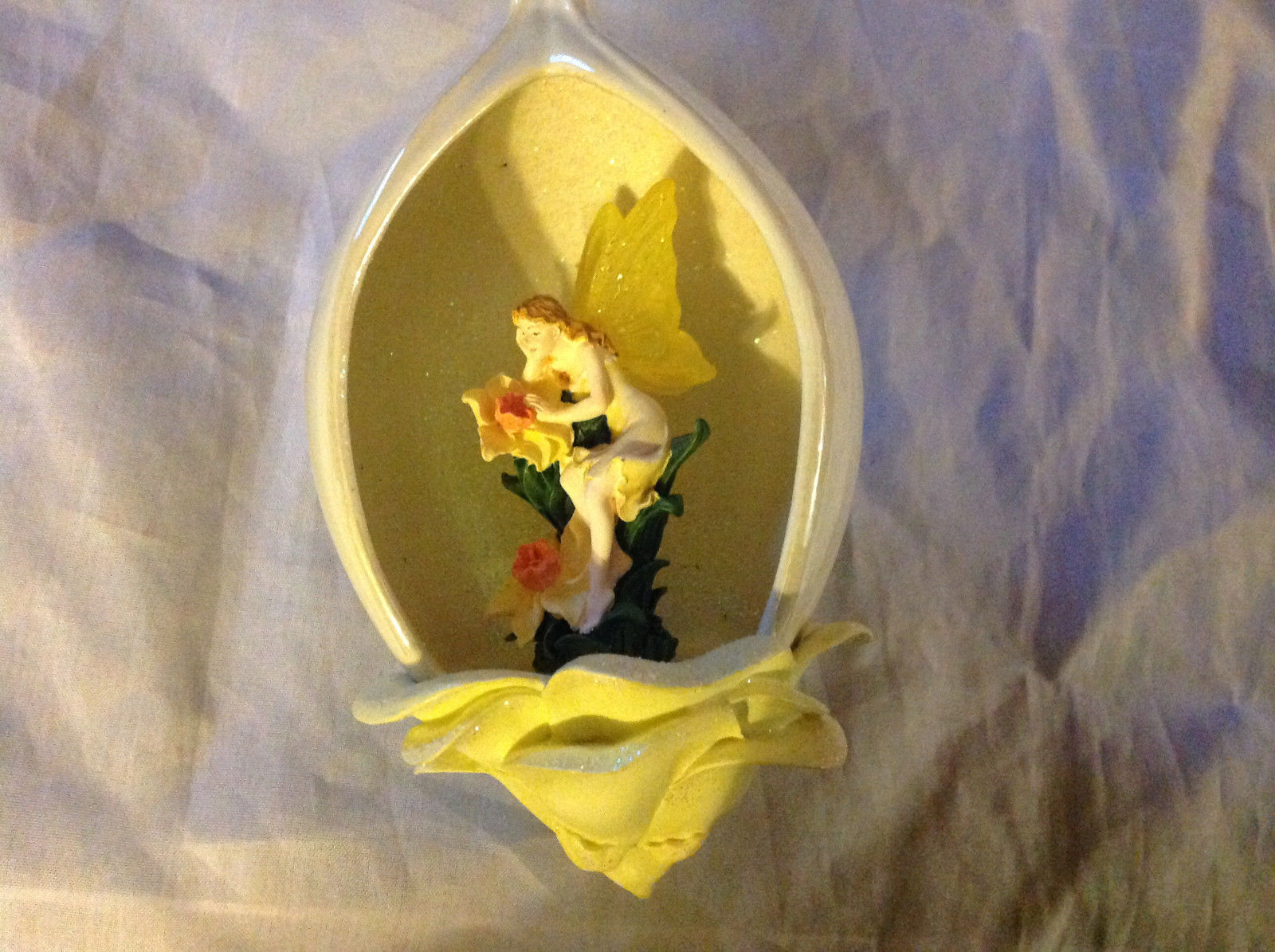Bradford Editions Heirloom Porcelain Flower Fairy Ornament Ribbon for Hanging