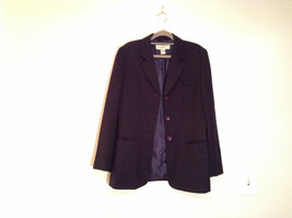 Black Fully Lined Eddie Bauer 100 Percent Wool Blazer Jacket Size 8 image 2