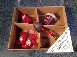 Box of Four Holiday Ornaments Let it Snow by Janet Burzenski Vintage Look