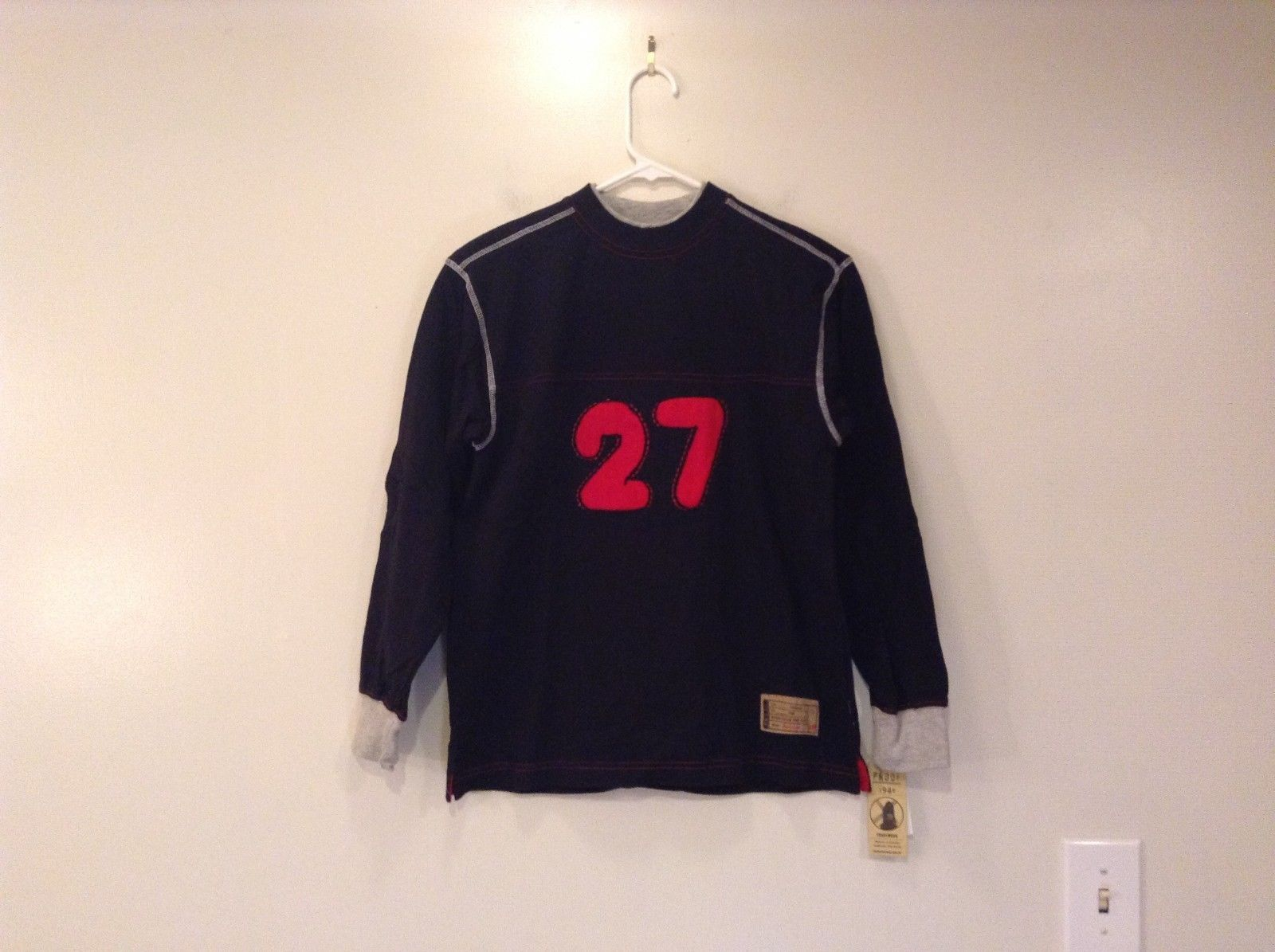 Boys Sport Shirt long sleeve PROOF 1948 black w red number 27 100 % cotton