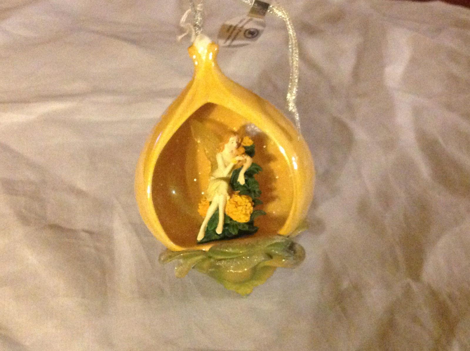 Bradford Heirloom Yellow Marigold Flower Fairy Ornament Ribbon for Hanging