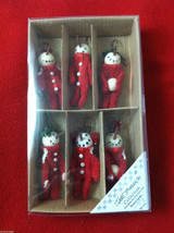 Box of 6 Cute Little Snowmen in Red Knit Sweaters - Christmas Ornaments