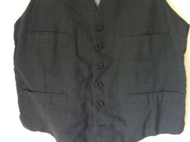 Black Formal Vest with Gray Lining Front Pockets 5 Button Closure V Neck NO TAG image 2