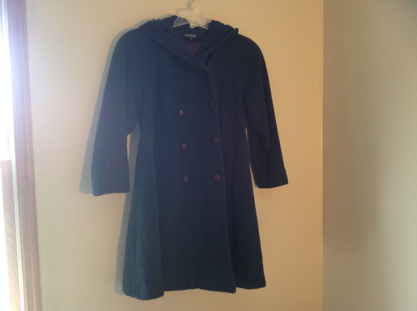 Braefair Blue Green Double Breasted Long Length Hooded Peacoat Size 10