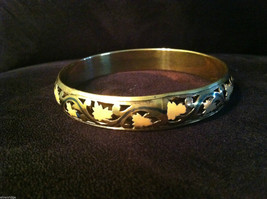 Brass Bracelet with Pink Leaf and Filigree Design
