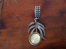 Branch Leaf with Stone Silver Tone Scarf Pendant by The Magic Scarf Company