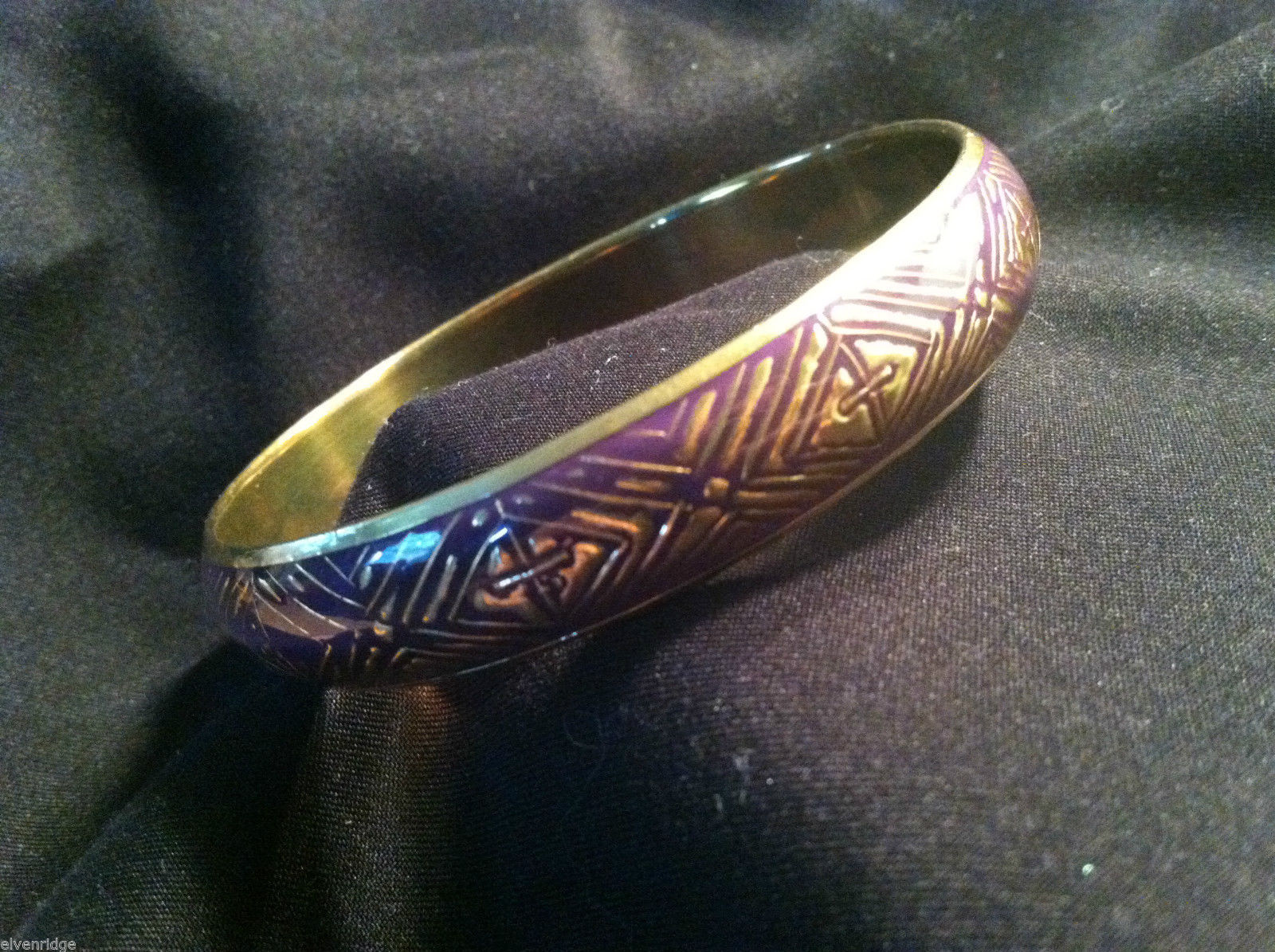 Brass Bracelet with Purple Enamel Cross and Chevron Design