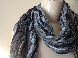 Black Gray and White Scrunched Scarf from The Magic Scarf Company 70 Inches image 2
