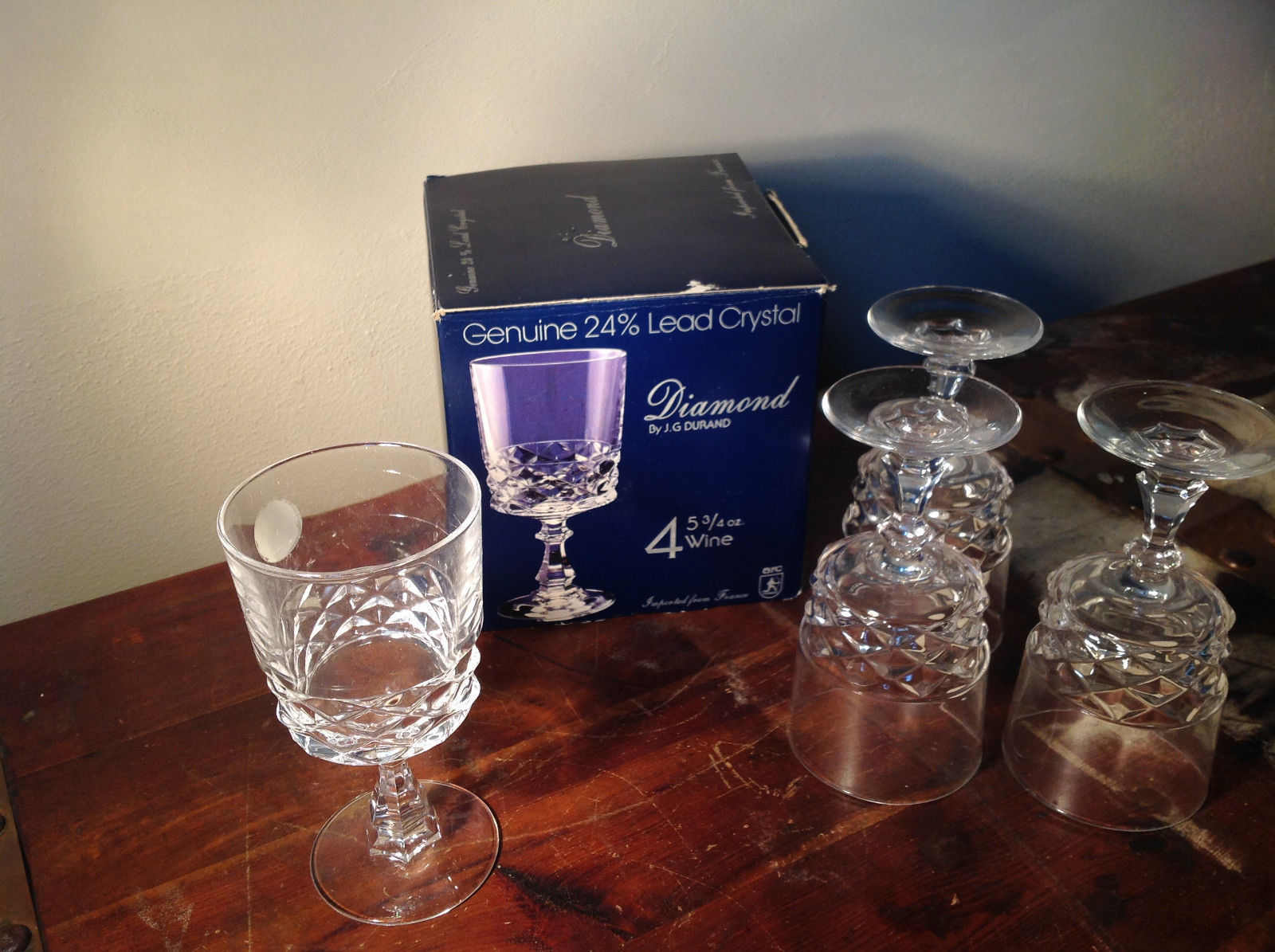 Brand New in Original Box Lead Crystal Set of Four Wine Glass Stemware France
