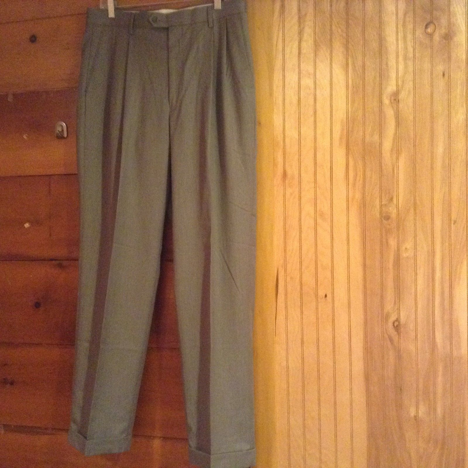 Braggi by Louis Raphael Gray Pleated Dress Pants Cuffed Bottom Size 34 by 32