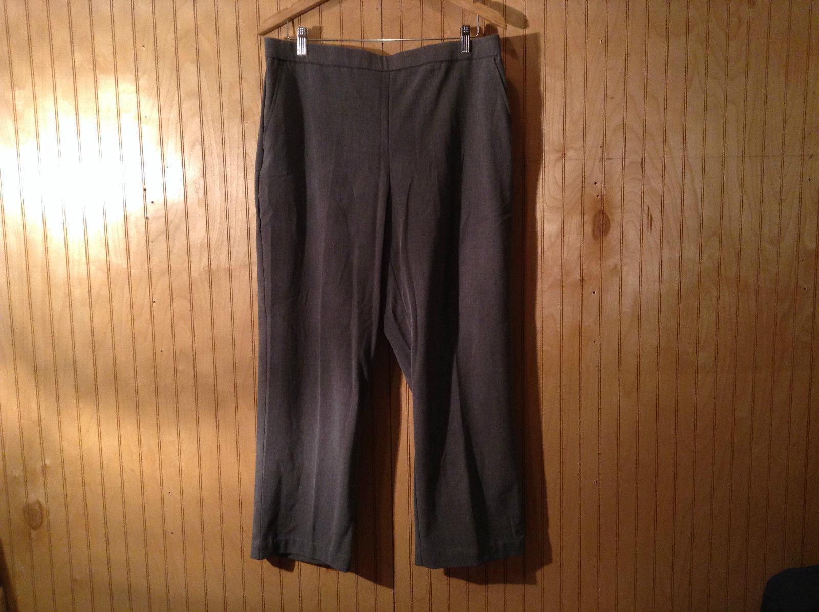 Briggs New York Gray Comfort Pants Elastic Waistgand Size 16 Side Pockets