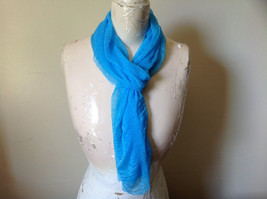 Bright Blue Sheer Shiny Material Fashion Scarf Light Weight Material NO TAGS image 1