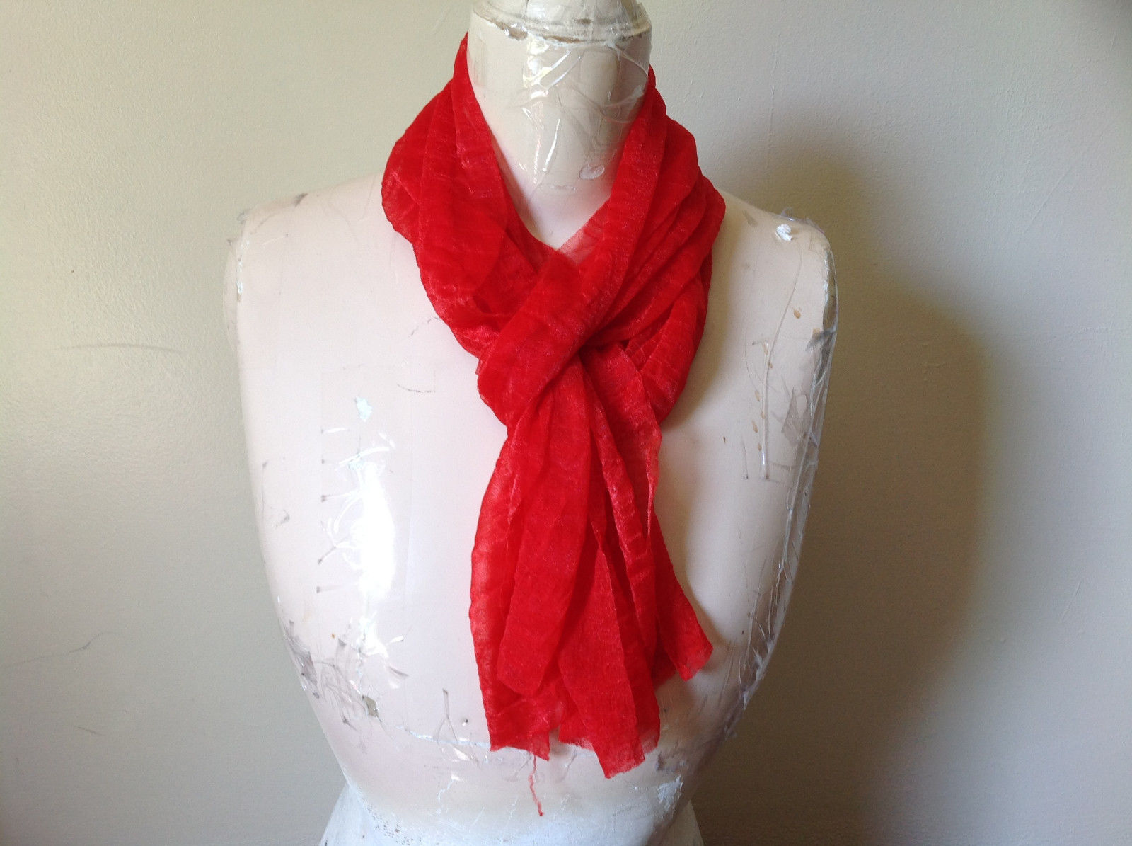 Bright Red Sheer Shiny Material Fashion Scarf Light Weight Material NO TAGS