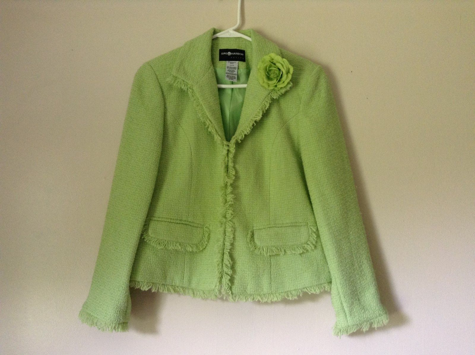 Bright Green Light Sleeve Sag Harbor Blazer Shoulder Pads Petite Size 6P