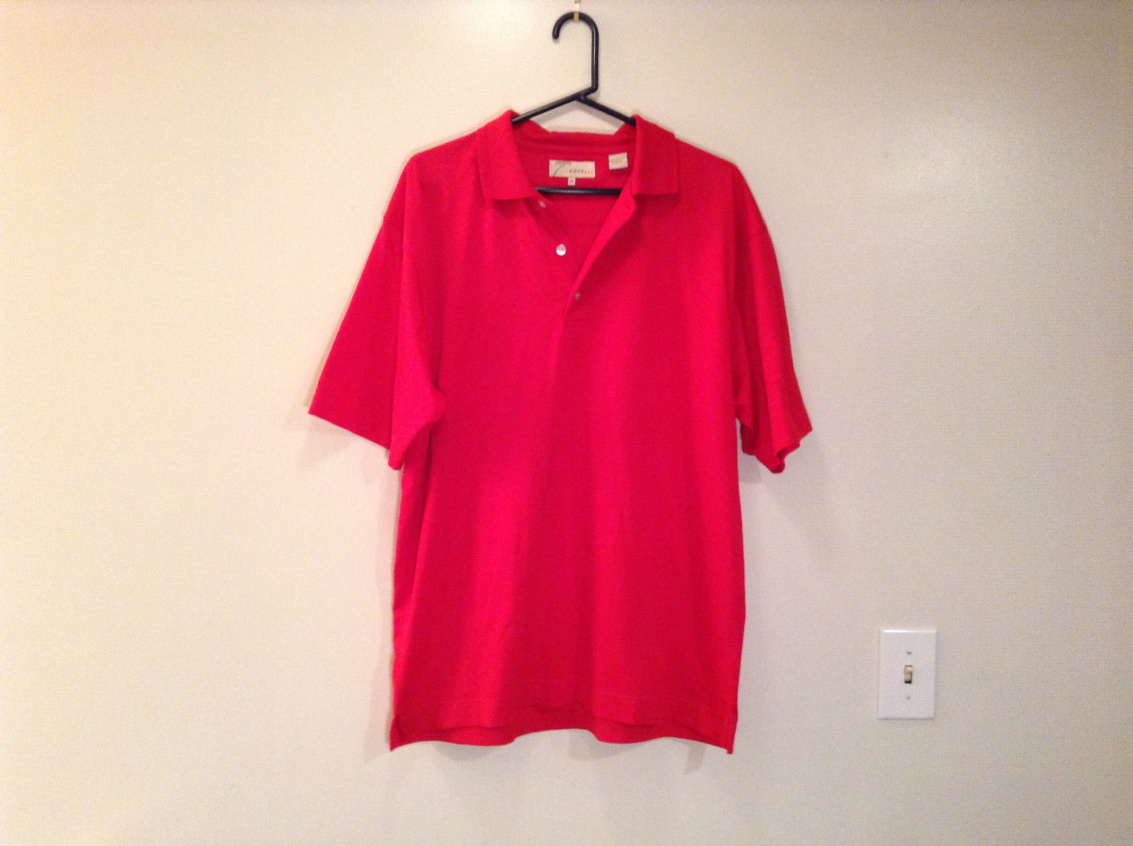 Bright Red Short Sleeve Polo Shirt by Ease Size XL Made in Vietnam