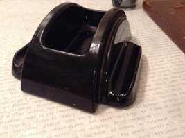 Black Inkwell with Stand and Black Ink Leather Bound Stand Vintage image 5