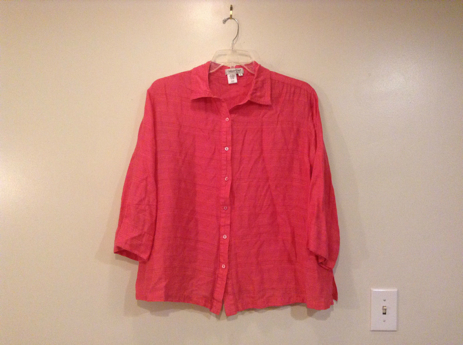 Bright Pink Long Sleeve Button Up Shirt Coldwater Creek Size 1X Light Fabric