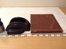 Black Inkwell with Stand and Black Ink Leather Bound Stand Vintage image 9