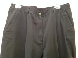 Black L L Bean Pleated Dress Work Pants 3 Pockets Button Zip Closure Size 14 image 2