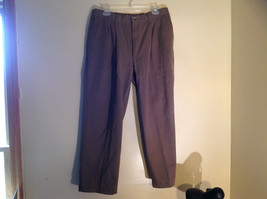 Brown Elastic Waist Pleated Work Pants Zip Button Closure No Brand Tag Size 36