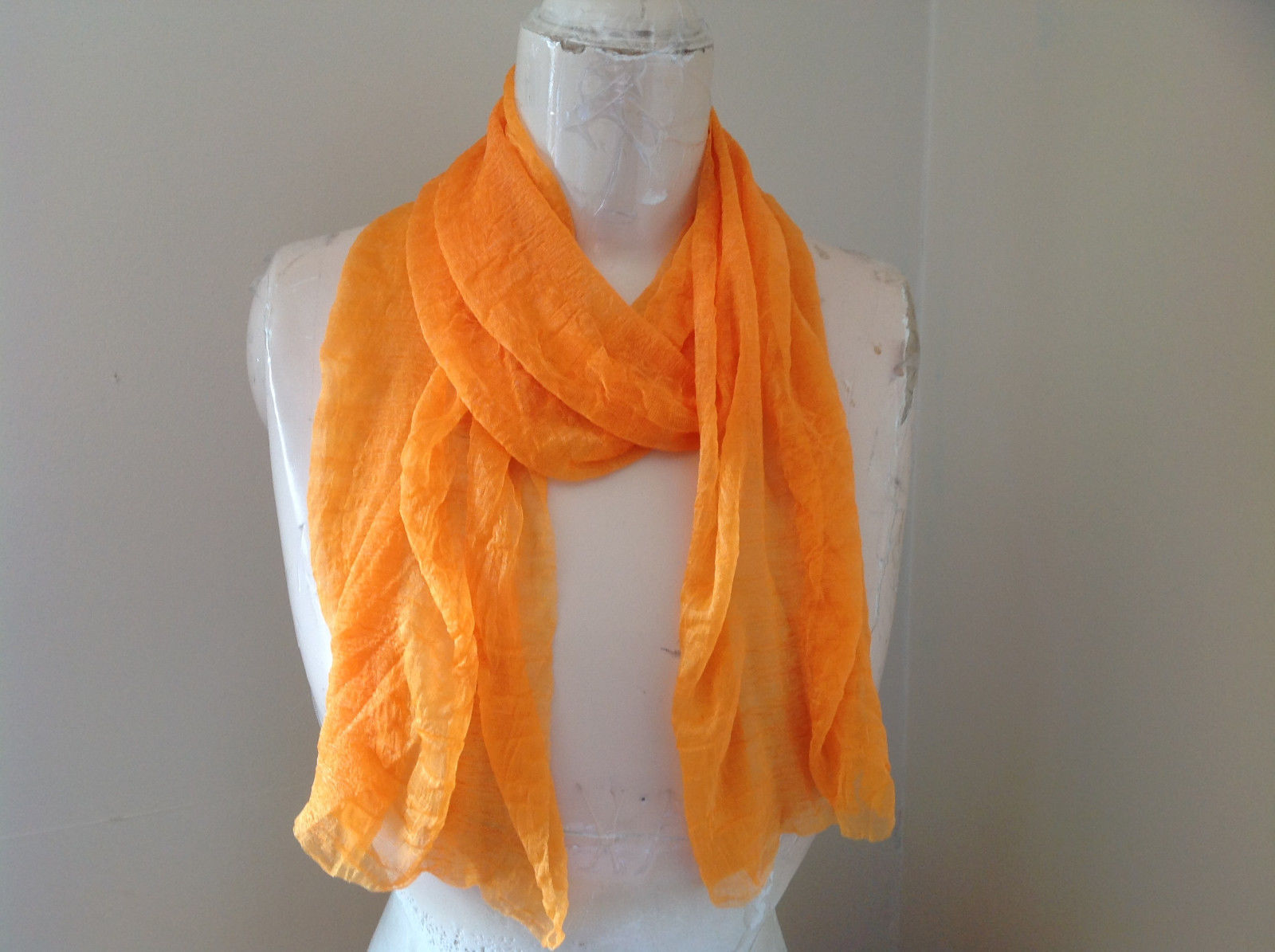 Bright Tangerine Orange Fashion Scarf Light Weight Material 60 Inches Long