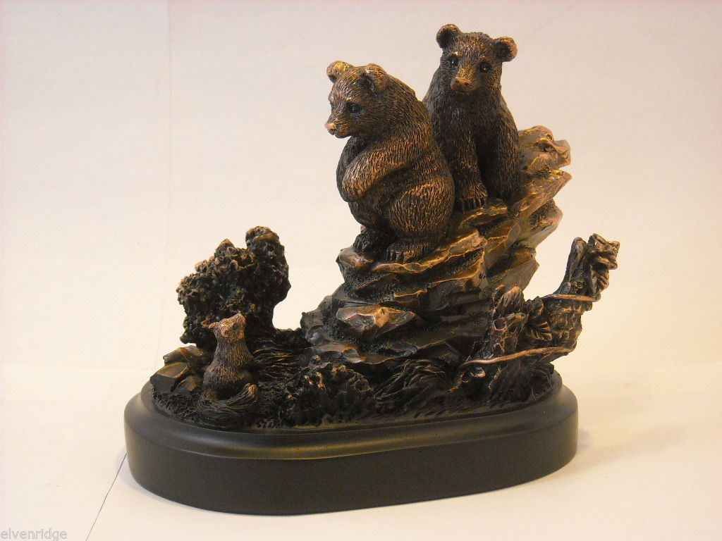 Bronzed resin Bear cubs cornered and scared by a squirrel  NEW