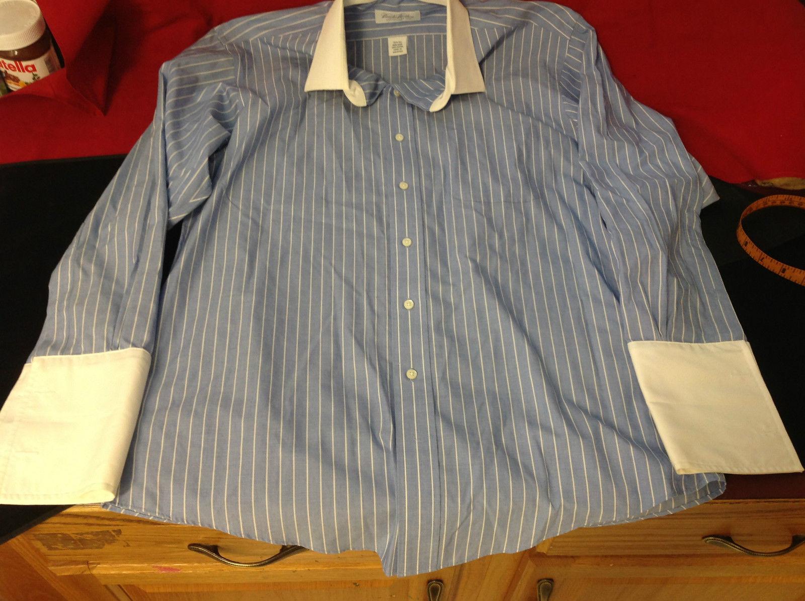 Brooks Brothers Long Sleeve Mens Dress Shirt Light Blue White Size 32