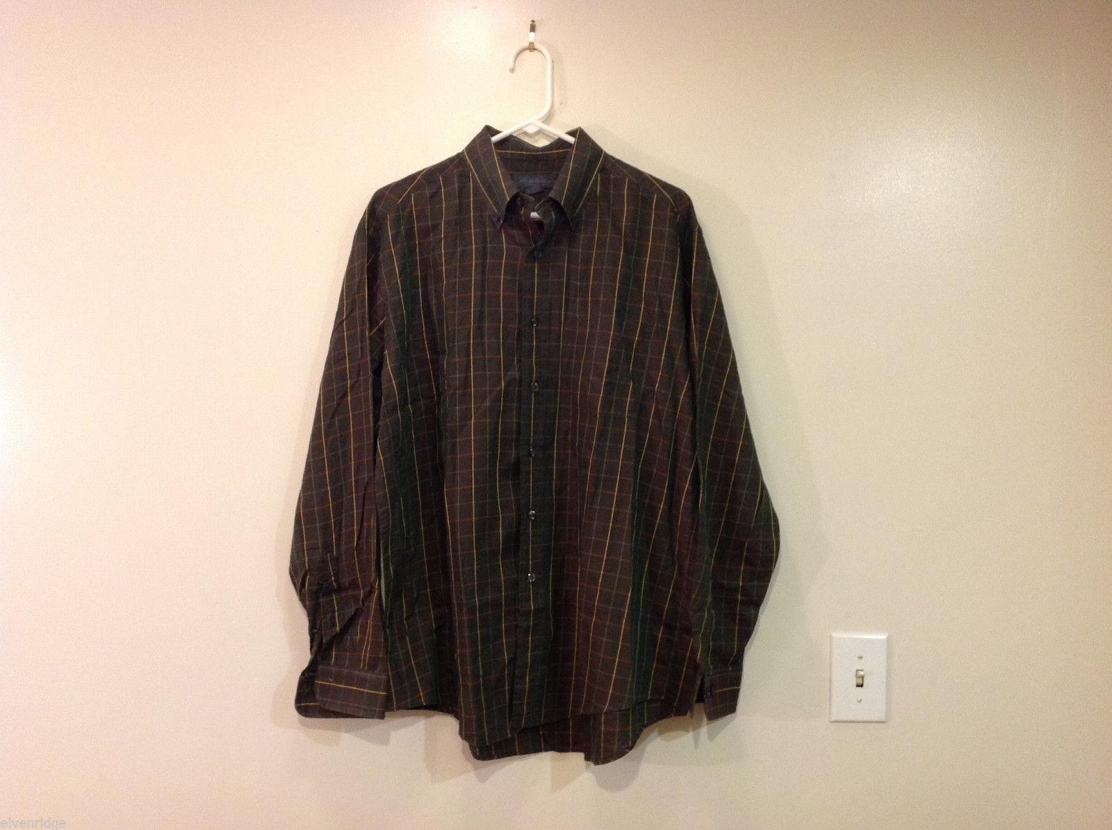 Brooks Brothers Dark Brown Green Hue Plaid Long Sleeve 100% cotton Shirt, Size L